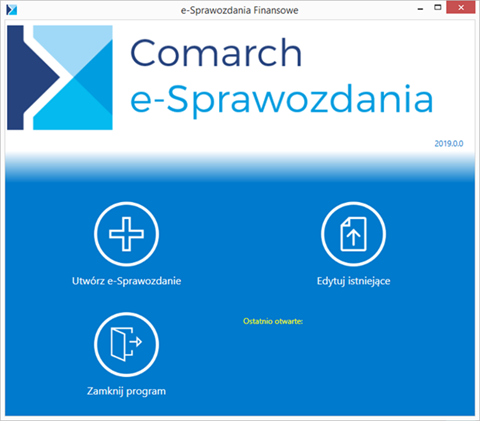 Comarch e-Sprawozdania - interfejs aplikacji dla Altum XL Optima