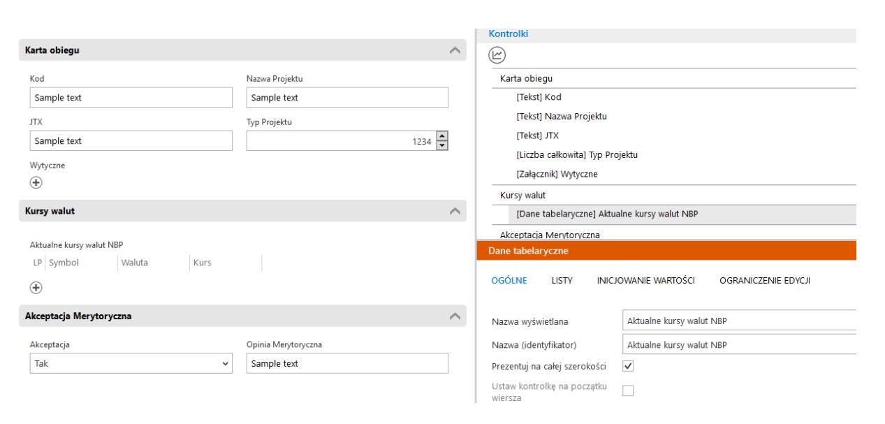 Comarch DMS Premium - dane tabelaryczne