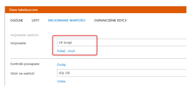 Comarch DMS Premium - ustawienia wyboru skryptu C#